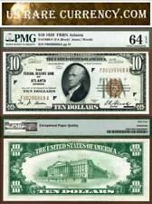 1929 $10 Federal Reserve Bank Note PMG Choice Uncirculated 64EPQ Atlanta