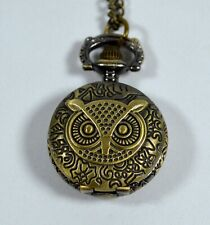 "OWL Mini Pocket Watch Necklace with 16"" Chain **Works!**"