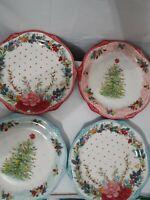 The Pioneer Woman Cheerful Rose Set 4 Christmas Tree Holiday Dinner Plates NIB