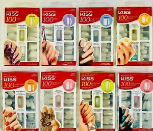NEW! KISS 100 Full Cover Nails/Tips Kit(Overlap/Square/Oval/Stiletto/Coffin)