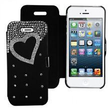 Strass Flip Cover mit Herz Punkte Strass Design für Apple iPhone SE / 5 / 5S