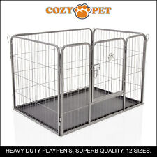 Heavy Duty Cozy Pet Puppy Playpen Run Crate Pen 61cm High Dog Cage - ABS Floor