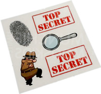 Top Secret Temporary Tattoos - Detective Spy Party Bag Fillers Pack Sizes 5 - 90