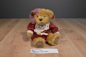 Russ Juliet Tan Teddy Bear in Red Velvet Dress Beanbag Plush(310-3865-1)