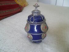 antique handmade SAFI MOROCCAN pottery pot blue red metal decoration old antique