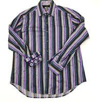 Robert Graham Classic Fit Flip Cuff Multicolor Striped L/S Mens Dress Shirt