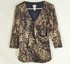 CHICO'S TOP SIZE 2 Wrap Sheer Sleeves Stretch Boxey Slouchy Womens