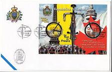 F.D.C. FOGLIETTO CENTENARIO TOUR DE FRANCE ANNULLO SPECIALE SAN MARINO 2003