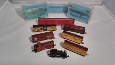 8 N SCALE ATLAS TRAIN CARS, TANK-LOCO, DOUBLE DOOR CAR, HI-CUBE, TRANS CABOOSE