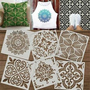 6Pcs/Set Painting Mandala Stencils Cut Painting Template DIY Floor Wall Tile USA