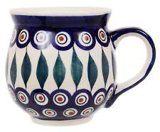 "~Polish Pottery~Belly/Bubble Mug 16oz ""Peacock"" Handmade Manufaktura"