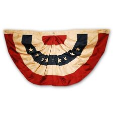 Morigins 2x4 FT Tea Stained Antique Style US American Flag Bunting Half Fan