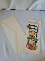 Sunshine Christmas Greeting Card Vtg Little Girl Knitting Stocking Cat Envelope