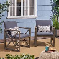 Hazel Outdoor Acacia Wood Club Chairs with Cushions