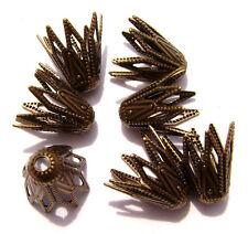 9254FX Bead Cap Cup Antiqued Brass Bronze 8mm Flower Bell Star Busket  50 Qty