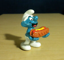 Smurfs Hot Dog Smurf 20169 Vintage Original Figure 1983 Peyo PVC Toy Figurine