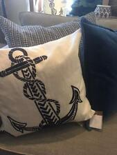 "NEW Pottery Barn Blue Anchor Crewel Pillow Cover 18"" Beach Coastal Nautical"