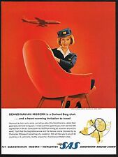 1962 Vintage SAS Airline Gerhard Berg Westnofa Chair Furniture Photo Print Ad