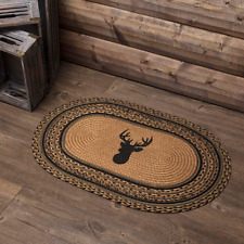 "New Rustic Hunting Cabin Lodge DEER ANTLER BRAIDED JUTE RUG Mat Area 20""x 30"""