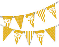Happy 16th Birthday Polka Dot and Vintage Gold Pattern Bunting Banner 12 flags
