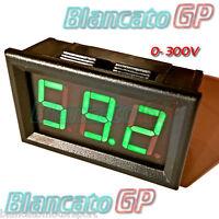 VOLTMETRO DIGITALE 0-300V DC LED VERDE tensione tester pannello auto moto camper