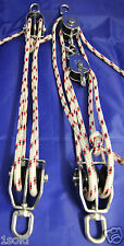 PULLEY SYSTEM SET 5 to 1 & 4 to 1 ratio FOR DINGHYS & OUTBOARDS 3hp & OVER