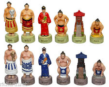 Chess Set Pieces Japanese Sumo Wrestlers NEW