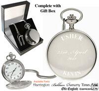 Usher Engraved Personalised Pocket Watch Wedding Fob