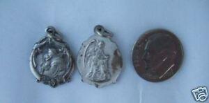 VINTAGE Catholic MEDAL St. Anthony Padua Guardian Angel silver finish metal