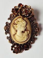 Brosche Gemme Cameo Blüten Vintage Anstecknadel Strass champagner antik gold