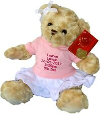 Personalised Teddy Bear New Baby Newborn Birth Details Nursery Shower Gift