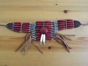 Burgundy Native American Turquoise Bone Breast Chest Plate Necklace Choker
