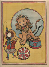 Vintage Page from The Flip Flop Show- Constance White-1909-Girl-Lion-Circus Fun