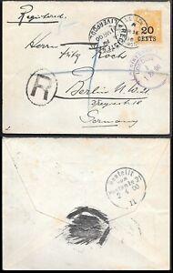 British Honduras Belize Registered Cover to Germany 1900. 20c ovpr QV stamp