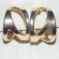 Vintage signed Napier openwork cutouts wide gold tone hoop clip earrings, as is