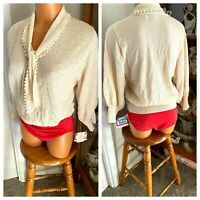 VTG 1960'S KENNETH KNITS USA UNION TAG IVORY NYLON KNIT TOP W/ 3/4 SLEEVES SZ L