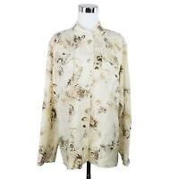 Chicos 2 L Blouse Shirt Ivory Linen Blend Long Sleeve Floral Mandarin Collar