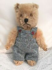 """**BEAR KNITS** Hand knitted clothes steel blue dungarees to fit 11"""" teddy"""