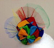 Blue, Red, Yellow, Green, Harlequin  Mini Top Hat Fascinator