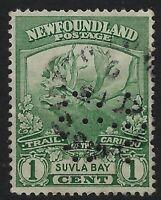 Newfoundland Perfin G5: G-K George Knowling: Scott 115, 1c Caribou Trail, Pos. 7