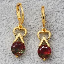 18K Gold Filled Heart Round Garnet Topaz mystic Women Earrings Wedding Jewelry