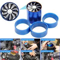Air Intake Turbonator Dual Fan Turbine Turbo Supercharger Gas Fuel Saver Blue