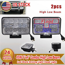 "2x 45W 4""x6"" Combo High Low Beam Clear Lamp LED Driving Work Head Light"