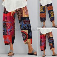 Mode  Femme Pantalon Long Impression Décontracté lâche Taille élastique Plus