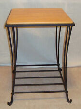 New ListingLongaberger Tall End Square Side Table Wrought Iron & Longaberger Woodcraft Top