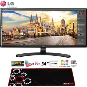 """LG 34UM68-P 34"""" 21:9 UltraWide FreeSync IPS Monitor + Deco Gear Gaming Mouse Pad"""