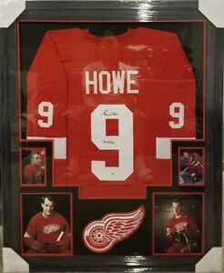 GORDIE HOWE DETROIT RED WINGS AUTOGRAPHED JERSEY CUSTOM FRAMED MR HOCKEY PSA COA