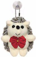 Christmas Hedgehog Plush Stuffed Animal Keychain w/ Red Bow - Hanging Toy Doll