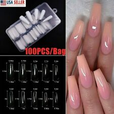 100Pc Full Cover False Nail Tip Ballerina Long Coffin Clear Acrylic Nails Art