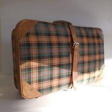 Valise art-déco vintage cuir tissu écossais bijouterie métal chrome France